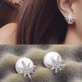 韩国满钻星星星芒珍珠新娘奢华耳钉