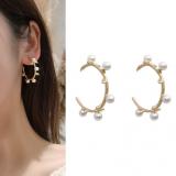 【4-4左右】S925银针韩国东大门缠绕珍珠半弧形几何金属树叶耳钉