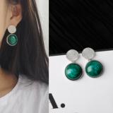 韩国复古天然绿宝石几何不规则银色亮片耳钉