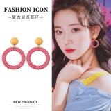 韩国可爱甜美俏皮活泼红色波点圆圈耳环少女潮人