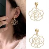 S925银针韩国复古镂空金属花朵新款网红气质耳钉