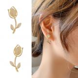S925银针韩国新款玫瑰花猫眼清新简约百搭新款耳钉