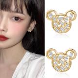 S925银针韩国东大门锆石镂空网红时尚小巧可爱百搭米奇耳钉