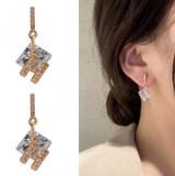 S925银针韩国几何东大门气质款满钻H字母时尚个性耳钉