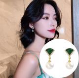S925银针韩国孔雀石扇形珍珠轻奢优雅气质复古耳钉耳饰女