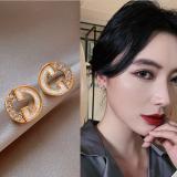 S925银针韩国字母高级感通勤气质小2020年新款潮耳钉耳饰女