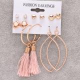 欧美跨境新款时尚爱心玫瑰花流苏带卡片6对装耳钉耳坠