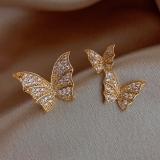 S925银针韩国不对称满钻蝴蝶小众设计感气质网红耳钉耳环耳坠