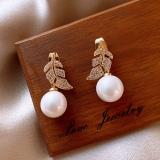 S925银针韩国珍珠叶子一款两戴组合式女网红气质新款潮耳钉耳饰