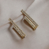 S925银针韩国时尚满钻几何形简约冷淡风通勤百搭耳钉女