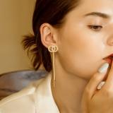S925银针韩国小香风双圈高级感流苏长款网红流苏气质耳钉耳饰女