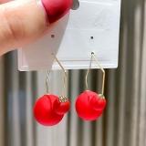 韩国创意新款红色喜庆气质拼接高级感时尚清新耳钉耳饰女