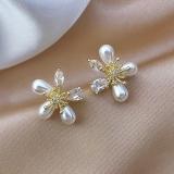 【真金电镀】S925韩国银针水晶珍珠花朵耳环2021新款小巧网红耳钉气质轻奢耳钉耳饰