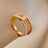 【真金电镀】韩国金珠打结开口可调节戒指女小众设计时尚欧美个性ins潮精致指环