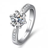【真金电镀】欧美新品经典六爪简约镶钻2克拉锆石指环个性食指女戒戒指女