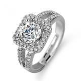 【真金电镀】欧美方形仿真莫桑钻戒经典方包微镶钻戒婚戒戒指