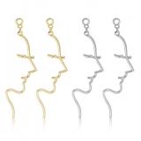 S925银针欧美个性冷淡风抽象人脸线条设计感耳钉耳饰女