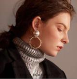 欧美风简约珍珠大小圆圈几何百搭气质耳坠耳饰女
