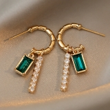 【10-27出货】S925银针韩国复古风镶钻锆石简约几何C形时尚设计耳钉耳饰女