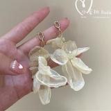 S925银针韩国纯欲超仙气质雪纺花朵珍珠浪漫设计复古网红耳钉耳饰女