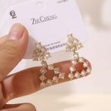 【真金电镀】S925银针韩国时尚简约风个性三角透明气质设计感耳钉耳饰女