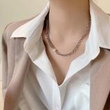 韩国双层珍珠2021年新款女设计感冷淡风秋冬金属毛衣项链