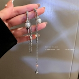 S925银针韩国镶钻珍珠流苏一款两戴不对称长款气质冷淡风个性耳钉耳饰女